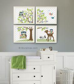 Baby Boy Nursery Art , Kids Room Nursery Decor, Owl Nursery Decor , Set of Four 8x10, Boys Room Decor - Woodland Animals