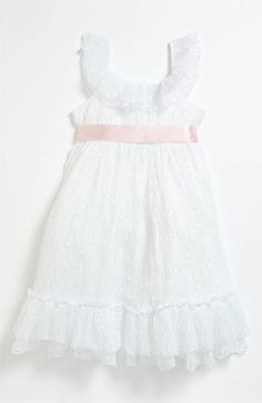 (replace the pink ribbon with a tan or beige color)  Laura Ashley Tiered Dress (Little Girls)