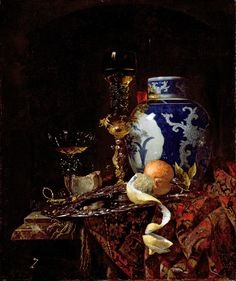 Willem Kalf - Still Life with a Chinese Porcelain Jar. CERAMICS : the porcelain jar and cover, late Ming, Chongzhen period 1628-1644.