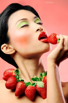 Strawberry delight - Chrissy models a necklace made of strawberries with themed make up.    #photography #fashion #beauty #model #sexy #cosmetics