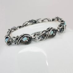Opal Bracelet Fine Silver bracelet October by sarahndippity