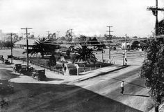 The North Hollywood Pacific Electric Car Station was located at the intersection of Chandler and Lankershim Boulevards. It was part of a very efficient rail system that was dismantled due to competition from the automobile in 1952. This picture probably dates from 1919. Los Angeles Valley College Historical Museum. San Fernando Valley History Digital Library.