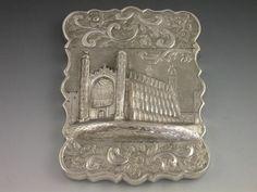 Victorian Antique Silver 'Castle-Top' Card Case Kings College Cambridge | Steppes Hill Farm Antiques | http://www.steppeshillfarmantiques.com/silver-and-porcelain/silver/card-cases
