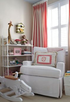 Pink and beige nursery features walls painted beige lined with a green striped birdhouse mounted on wall over a white Jenny Lind Bookcase next to a white . Beige Nursery, Girl Nursery, Girl Room, Girls Bedroom, Pink Curtains, Striped Curtains, Monogram Pillows, Baby Boy Rooms, Kids Rooms
