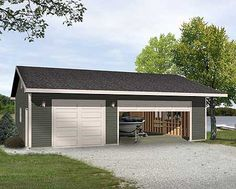 3 car garage clay side metal with bronze roof trim and for Versatile garage floors