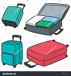 Find Vector Set Suitcase stock images in HD and millions of other royalty-free stock photos, illustrations and vectors in the Shutterstock collection. Thousands of new, high-quality pictures added every day. Manga Clothes, Drawing Clothes, Kawaii Stickers, Cute Stickers, Kawaii Drawings, Cute Drawings, Episode Backgrounds, Anime Drawing Styles, Suitcase Set