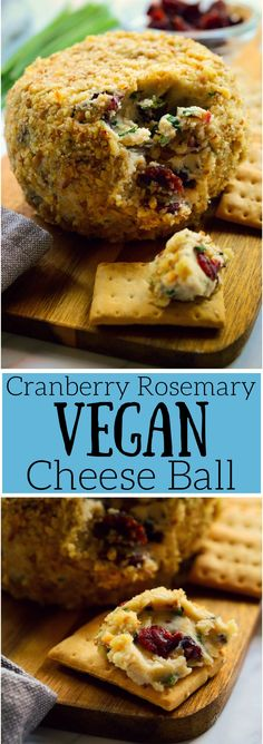 This #cranberry rosemary #vegan #cheese ball is a great make-ahead #appetizer for festive occasions or any old day of the week! Deliciously sweet and savoury, super easy to make and great served with crackers, fruit of veggies, this vegan cheese ball will be a great addition to your #holiday table!