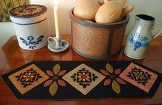 Wool applique PATTERN table runner penny rug folk art stencil Amish quilt block wool felt primitive felted hand dyed rug hooking wool