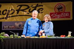 Chef Gail Sokol and Albany's Mayor Jerry Jennings putting on a demonstration at Eat Healthy Albany