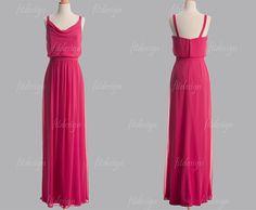 hot pink bridesmaid dress, long bridesmaid dresses, cheap bridesmaid dresses, chiffon bridesmaid dress, spaghetti bridesmaid dress, 1400326