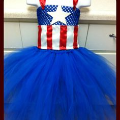 Captain America tutu dress Going to try makin this for Tori