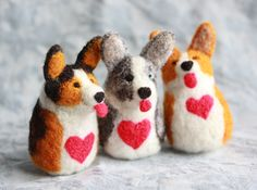 Corgi Love, Little felted corgis and sheep in time for Valentine's day Needle Felting Kits, Needle Felted Animals, Felt Animals, Corgi Facts, Machine Embroidery Projects, Embroidery Designs, Felt Dogs, Dog Ornaments, Felt Hearts