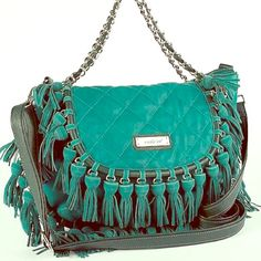Beautiful Nicole Lee Bag Teal (green/blue), suede, fringe, chain strap Nicole Lee bag <3 it has a girly hobo style. Great condition. Trade = $55 Nicole Lee Bags Shoulder Bags