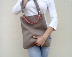 Grey leather bag/Tote leather bag/Everyday bag/Gray leather bag