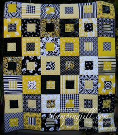 hand crafted quilt ... squares within squares ... patterns in white, black and yellow ....  from StampingJill.com - Jill Olsen ... inspiration for a quilt card in paper ...