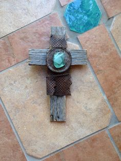 Rustic New Mexico Aqua Green Desert Sea Glass, Antique Metal, Antique Wire, and Old Wood Wall Cross by GiChPaLo on Etsy https://www.etsy.com/listing/279077610/rustic-new-mexico-aqua-green-desert-sea