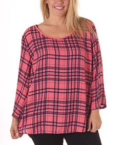 Another great find on #zulily! Pink & Black Plaid Flannel Top - Plus #zulilyfinds