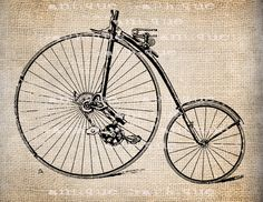 Vintage Steampunk Clip Art | Antique Burlap Steampunk Bicycle Vintage 5 Illustration Digital ...