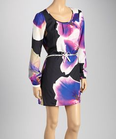 Take a look at this Blue & Violet Watercolor Belted Long-Sleeve Dress by DEPT on #zulily today!