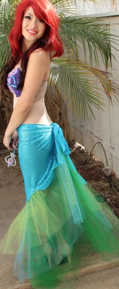 What a clever way to make a mermaid tail! Make your own DIY Ariel costume with our fabrics: http://shop.vibesandscribes.ie/fabric.html