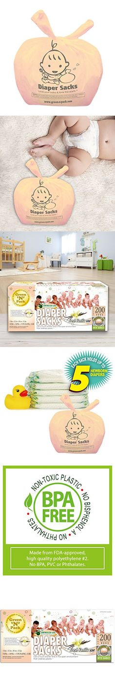Green'N'Pack Baby Diaper Sacks with Fresh Baby Vanilla Scent, 200 Count
