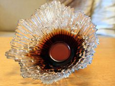 """Vintage Glass """"Revontulet"""" (Northern Lights) Amber Glass Bowl By Tauno Wirkkala for Humppila"""