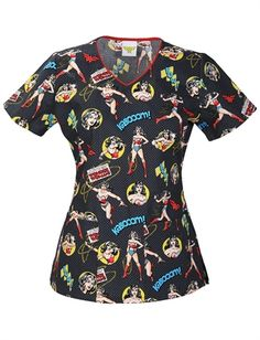 Scrubs - Cherokee Tooniforms 100% Cotton Justice And Truth Scrub Top Justice  League Wonder Woman