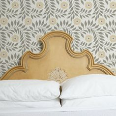 Indian Floral Wall Stencil with gold & gray colors