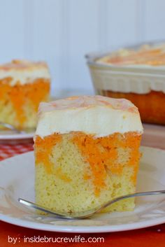 Orange cake filled with orange jell-o and topped with a pudding topping!  This is so delicious!!!