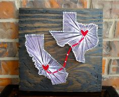 Two State String Art with Connecting Hearts by CClarkeDesigns, $35.00