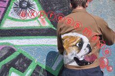 Painted cotton jacket English bulldog @expressmade