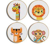 Cute Cross Stitch, Cross Stitch Fabric, Cross Stitch Animals, Wedding Cross Stitch Patterns, Modern Cross Stitch Patterns, Cross Stitch Designs, Deer Nursery, Nursery Patterns, Jungle Animals