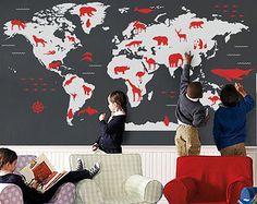 118'' W Animal world map wall decal Nursery map decal