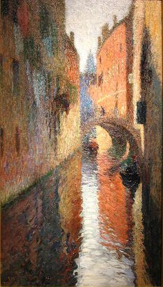 Canal in Venice - Henri Martin  Henri-Jean Guillaume Martin (August 5, 1860 - November 12, 1943) was a renowned French impressionist painter.
