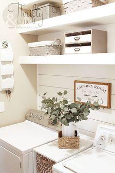 Small farmhouse laundry room makeover and organization ideas. DIY laundry room ideas on a budget