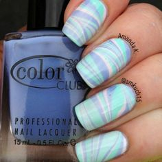 pastel water marble nails