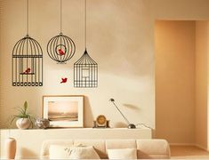 Bird cage wall decal with birds vinyl wall sticker by classywalls, $19.99