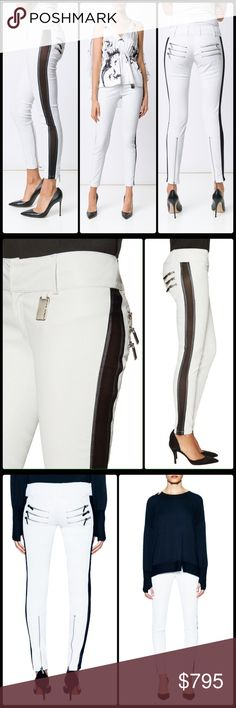 THOMAS WYLDE ♠️ Sage  Lambskin Leather Pants NWT Exquisite rock royalty  stretch Lambskin leather pants with black mesh insets down the outside of each leg. Heavy duty silver hardware... Zipper pocket and cuff details and TW insignia tag.  Zip fly. Size M - approx. 27. NWT Thomas Wylde Pants Skinny