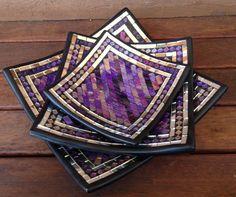 Mosaic Plates www.sukacita.com.au Mosaic Tray, Mirror Mosaic, Mosaic Glass, Fused Glass, Stained Glass, Mosaic Projects, Purple Hues, Button Art, Mosaic Patterns