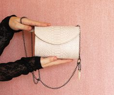 White leather purse Snakeskin pattern gold leather by Dalfia