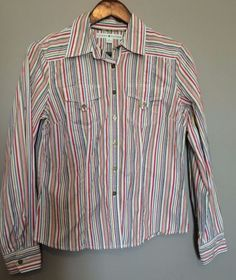 1a1015aa Details about Tommy Hilfiger Women's Blouse Shirt Long Sleeve Blue Striped  Button Up Sz M