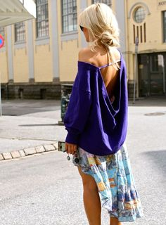 high-low skirt and slouchy sweater
