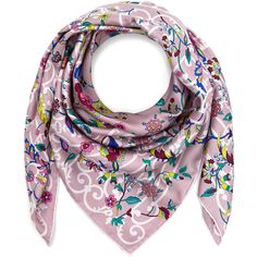 Liberty London Lilac Garden Gates Silk Twill Scarf (20.050 RUB) via Polyvore featuring accessories, scarves, patterned scarves, indian shawl, floral print scarves, tie scarves и print scarves