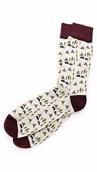 $35 Corgi Cotton & Nylon Socks Sz 9-11 Happy Camper Cream & Burgundy Pattern NEW