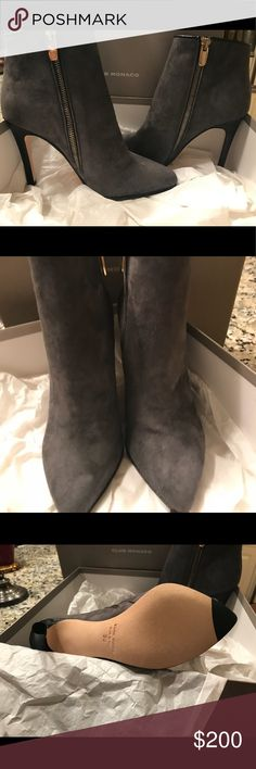 New Club Monaco Grey Suede stiletto booties sz 36 Brand new Club Monoco grey suede stilleto ankle booties size 36 sold in original box. This item is not available for a 20% bundling discount Club Monaco Shoes Ankle Boots & Booties