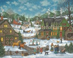 1000 Piece Jigsaw Puzzle for Adults 1000 pc Snowy Winter Holiday Jigsaw by Artist H.Hargrove Bits and Pieces an Old Fashioned Christmas