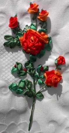 Silk ribbon embroidery roses