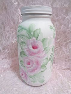 HUGE 3 PINT BALL JAR hp roses chic shabby vintage cottage hand painted pink art #BALLJAR #SHABBYCHIC