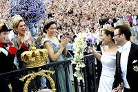 Queen Maxima and crown princess mary at Crown Princess Victoria of Sweden and Prince Daniel's Wedding
