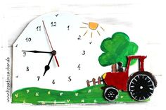 Traktor Uhr basteln ganz einfach und schnell. Ein tolles Geschenk für jeden kleinen Traktor-Fan. Diese Kinderzimmeruhr sieht einfach toll aus. Kostenlose Bastelanleitung und Vorlage direkt zum Ausdrucken - inkl. Bezugsquelle für das Material wie Holz, Uhrwerk, Zeiger usw. Baby Items, Clock, Kids Rugs, Side, Home Decor, Material, Ipad, Party, Kid Outfits